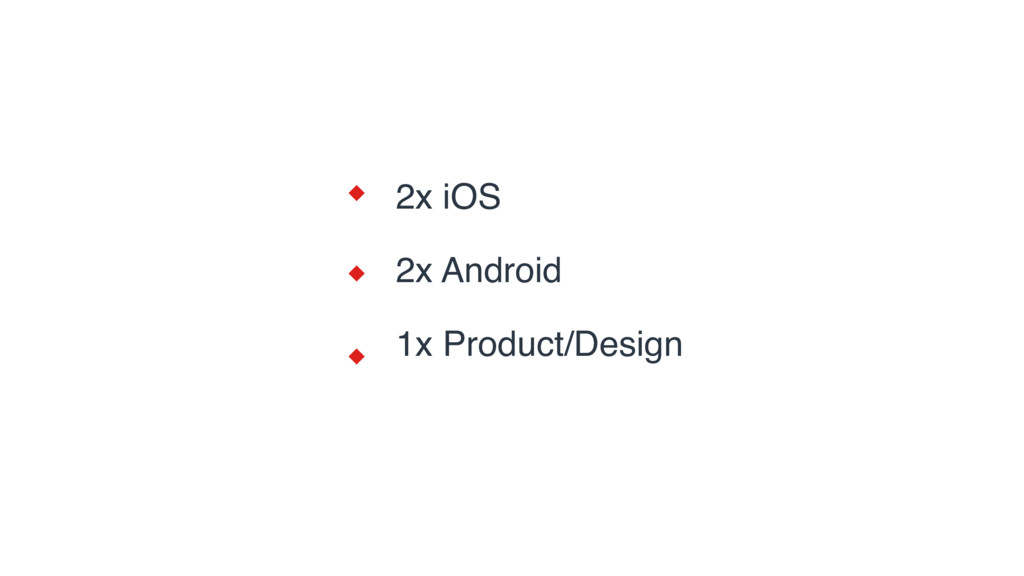 2x iOS 2x Android 1x Product/Design