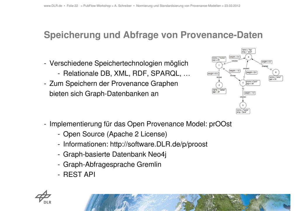 Speicherung und Abfrage von Provenance-Daten - ...