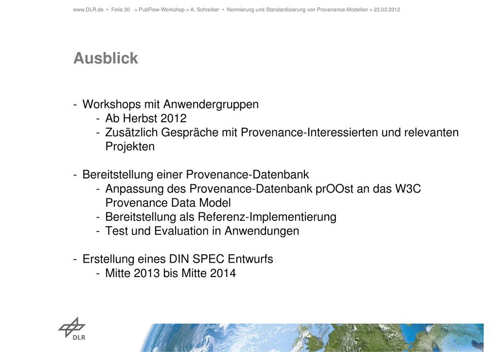 Ausblick - Workshops mit Anwendergruppen - Ab H...