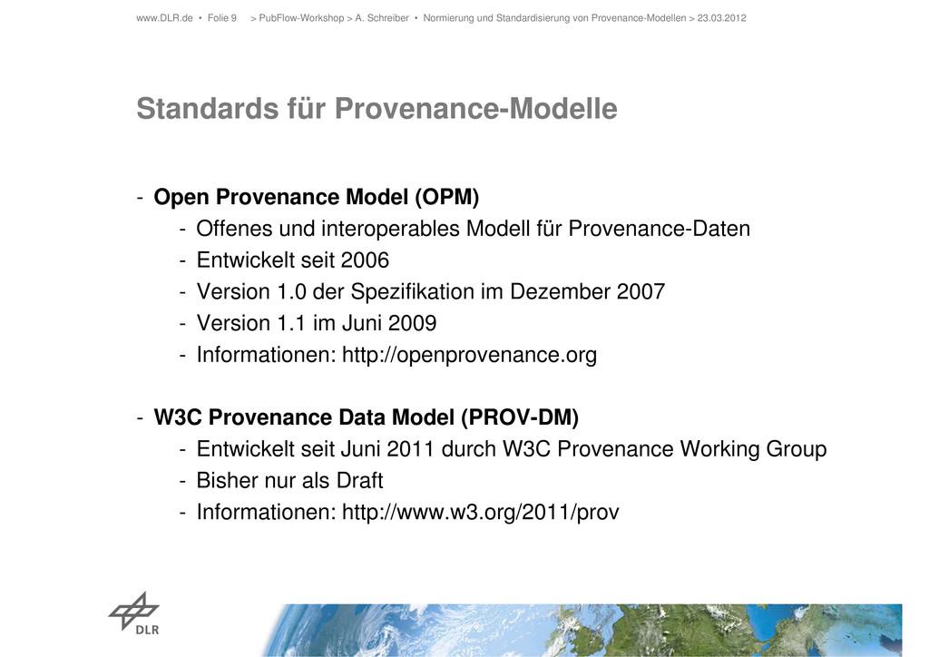 Standards für Provenance-Modelle - Open Provena...