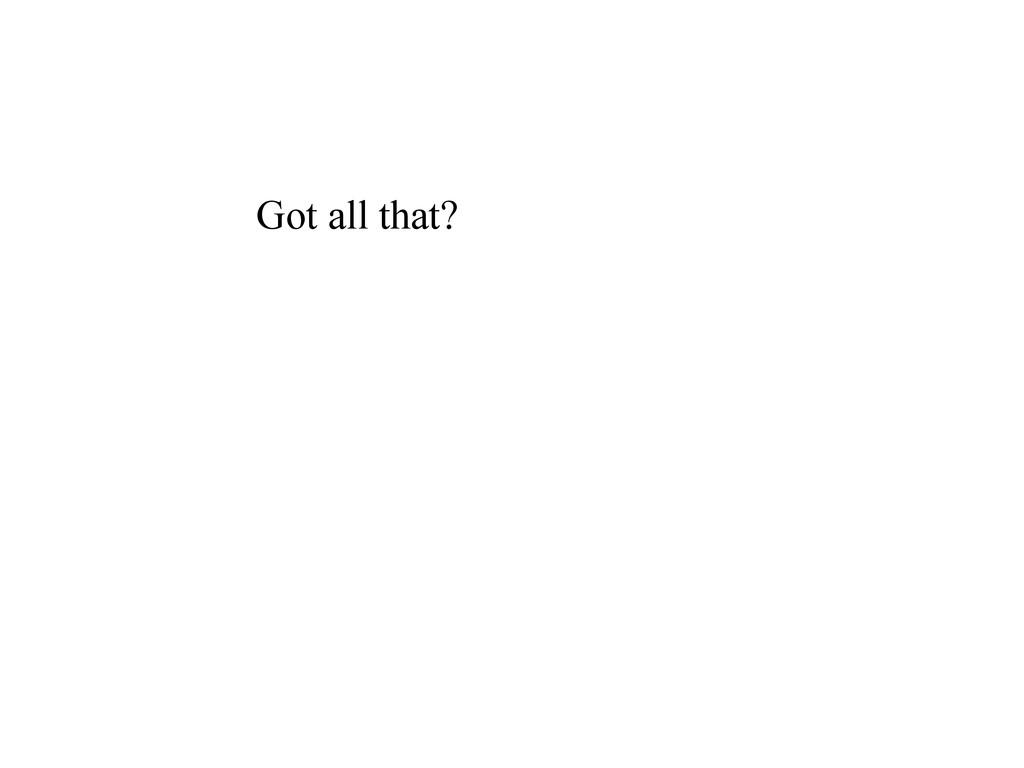 Got all that?