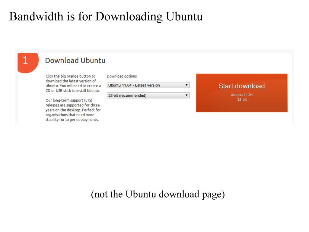 Bandwidth is for Downloading Ubuntu (not the Ub...