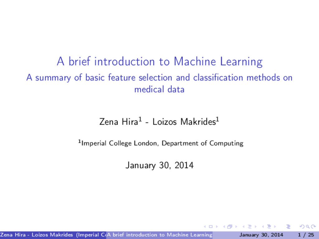 A brief introduction to Machine Learning A summ...