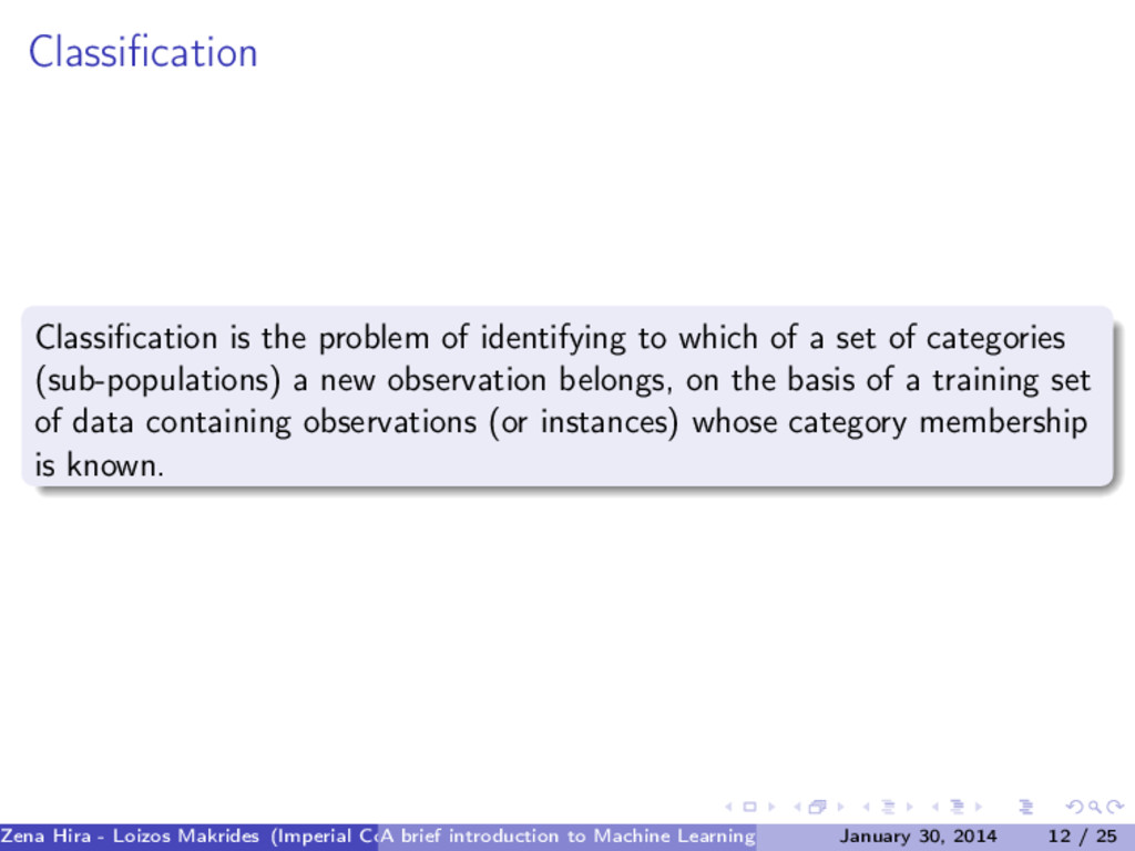 Classification Classification is the problem of i...