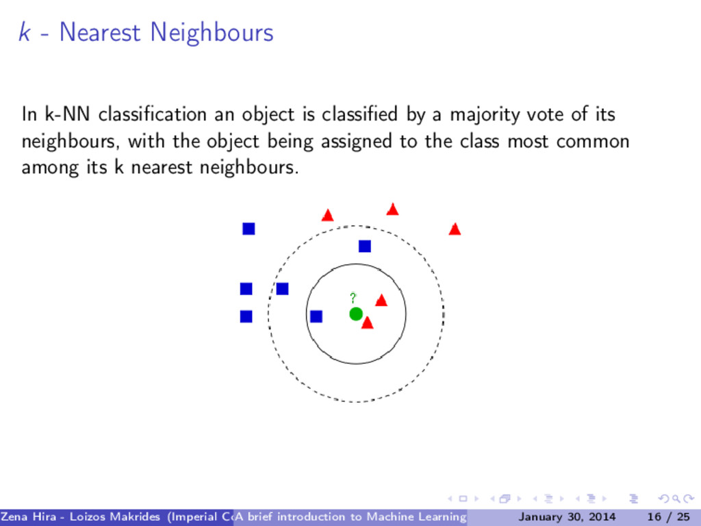 k - Nearest Neighbours In k-NN classification an...
