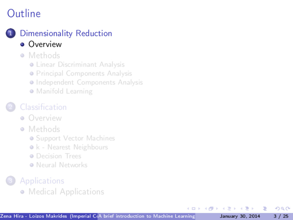 Outline 1 Dimensionality Reduction Overview Met...