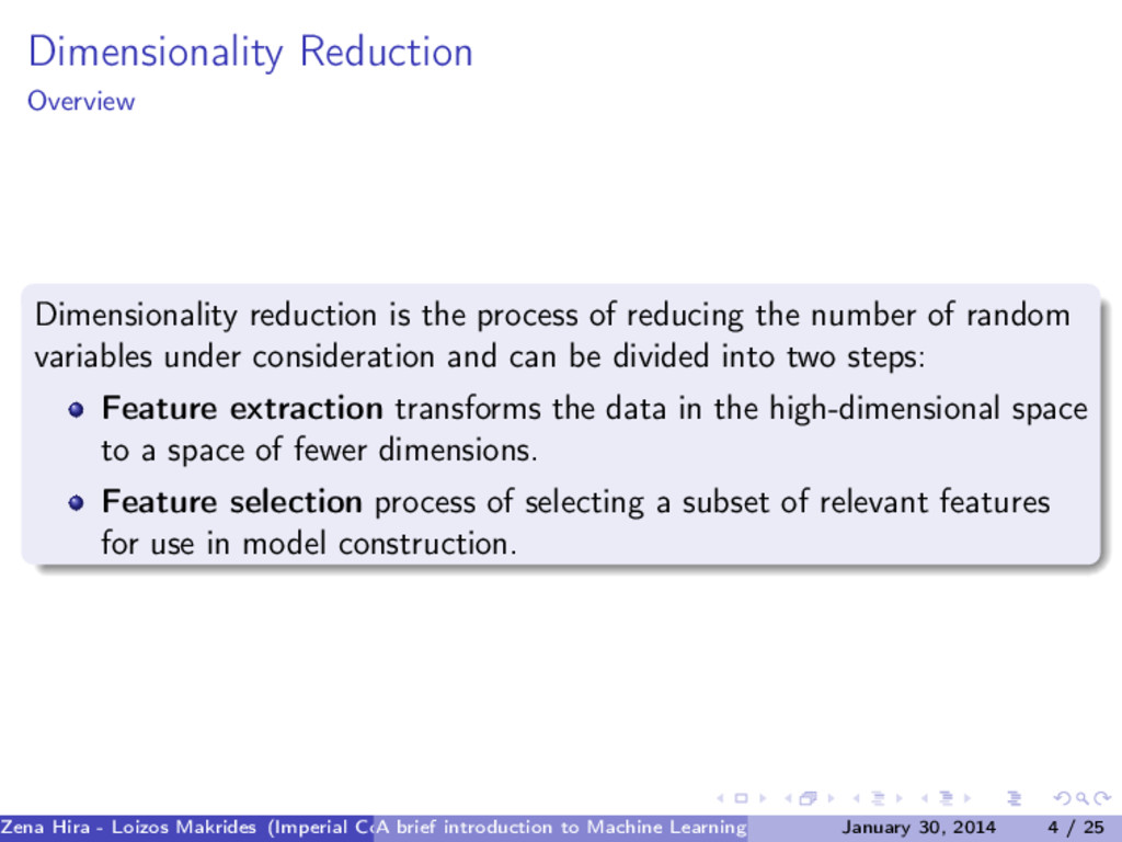Dimensionality Reduction Overview Dimensionalit...