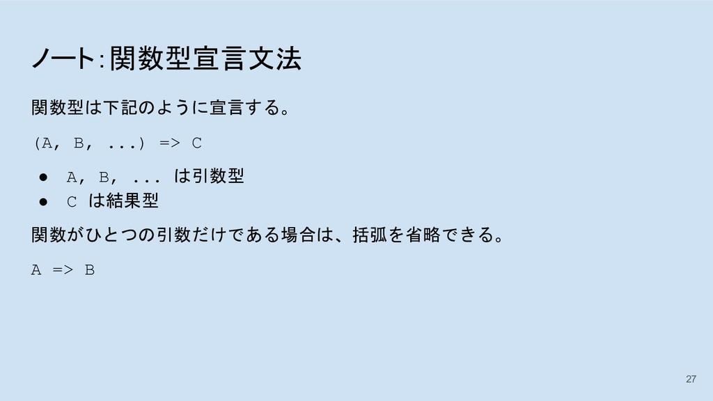 ノート:関数型宣言文法 関数型は下記のように宣言する。 (A, B, ...) => C ● ...
