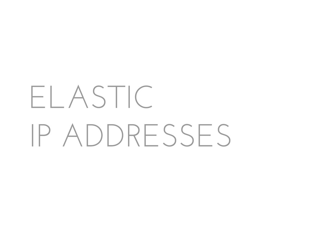 ELASTIC IP ADDRESSES