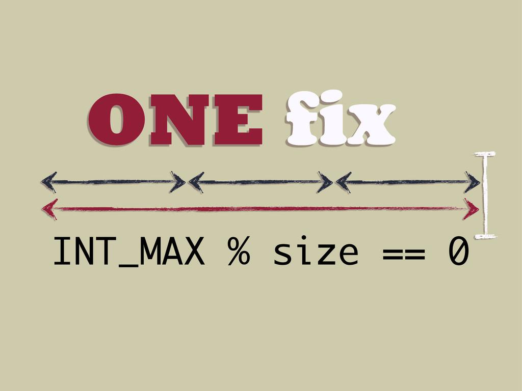 ONE fix INT_MAX % size == 0