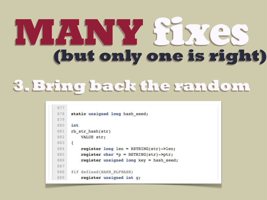 MANY fixes (but only one is right) 3. Bring bac...