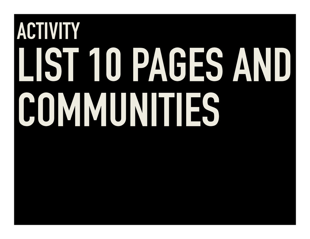 ACTIVITY LIST 10 PAGES AND COMMUNITIES