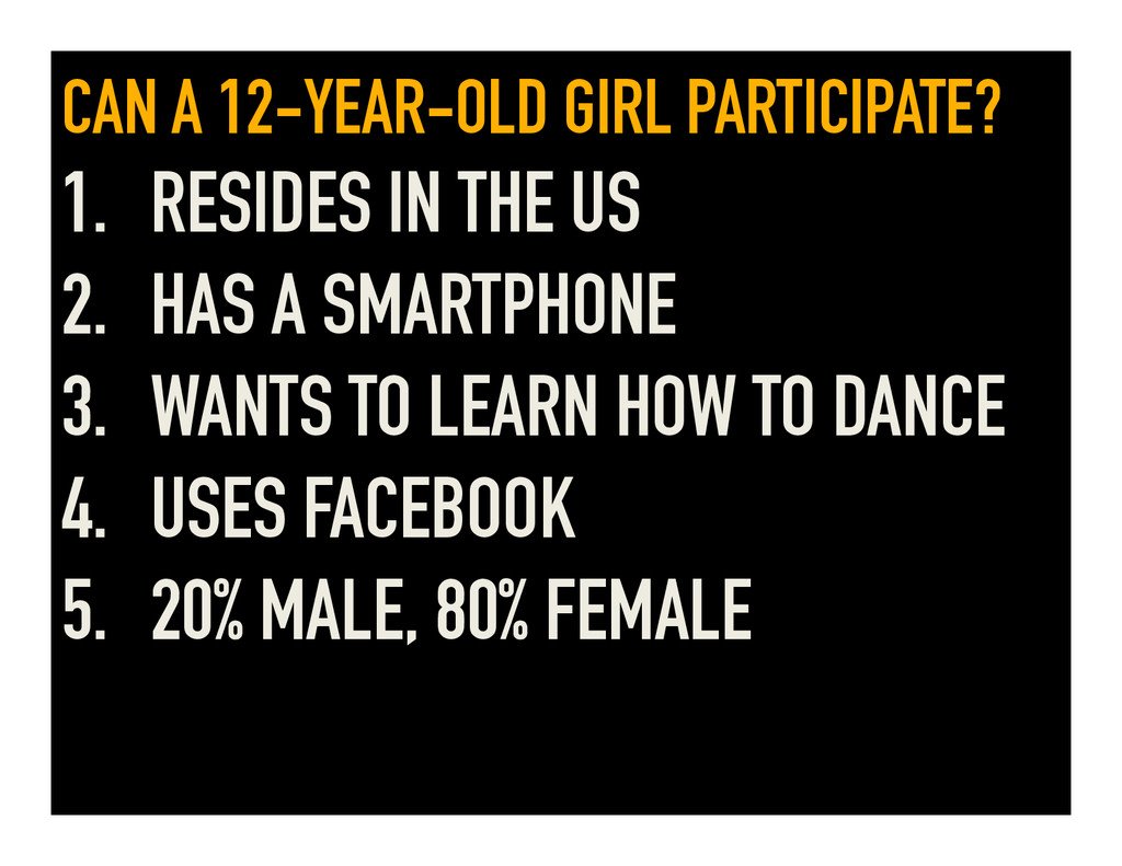 CAN A 12-YEAR-OLD GIRL PARTICIPATE? 1.  RESIDES...