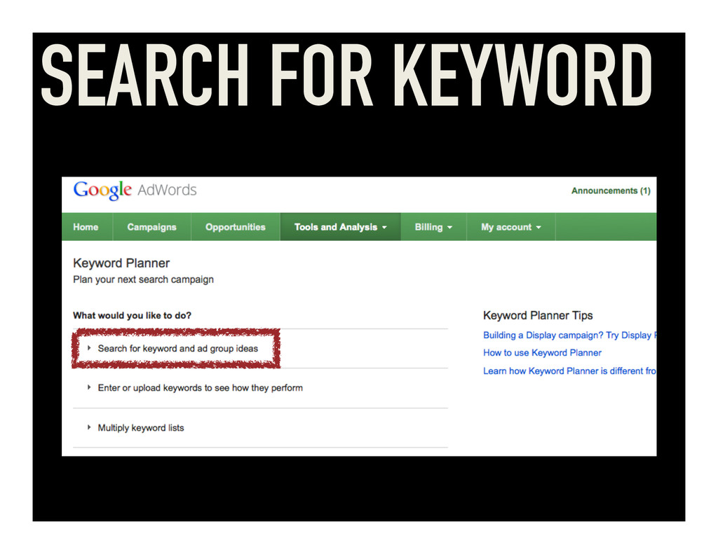 SEARCH FOR KEYWORD