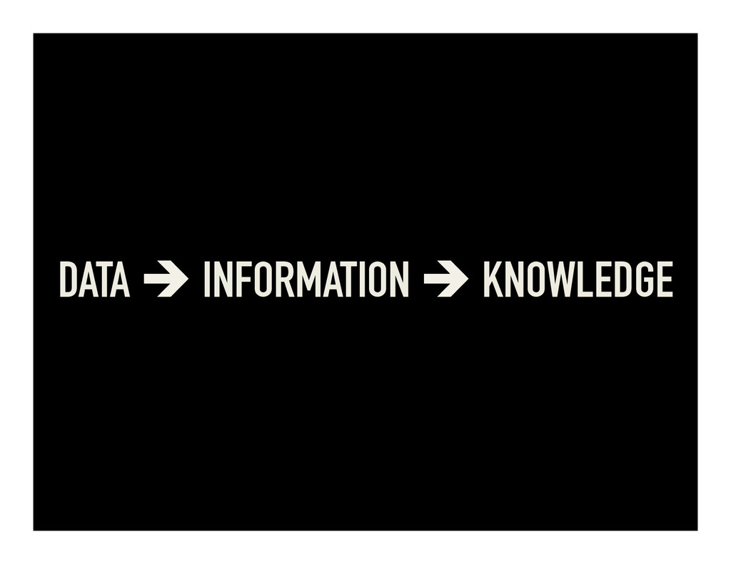 DATA è INFORMATION è KNOWLEDGE