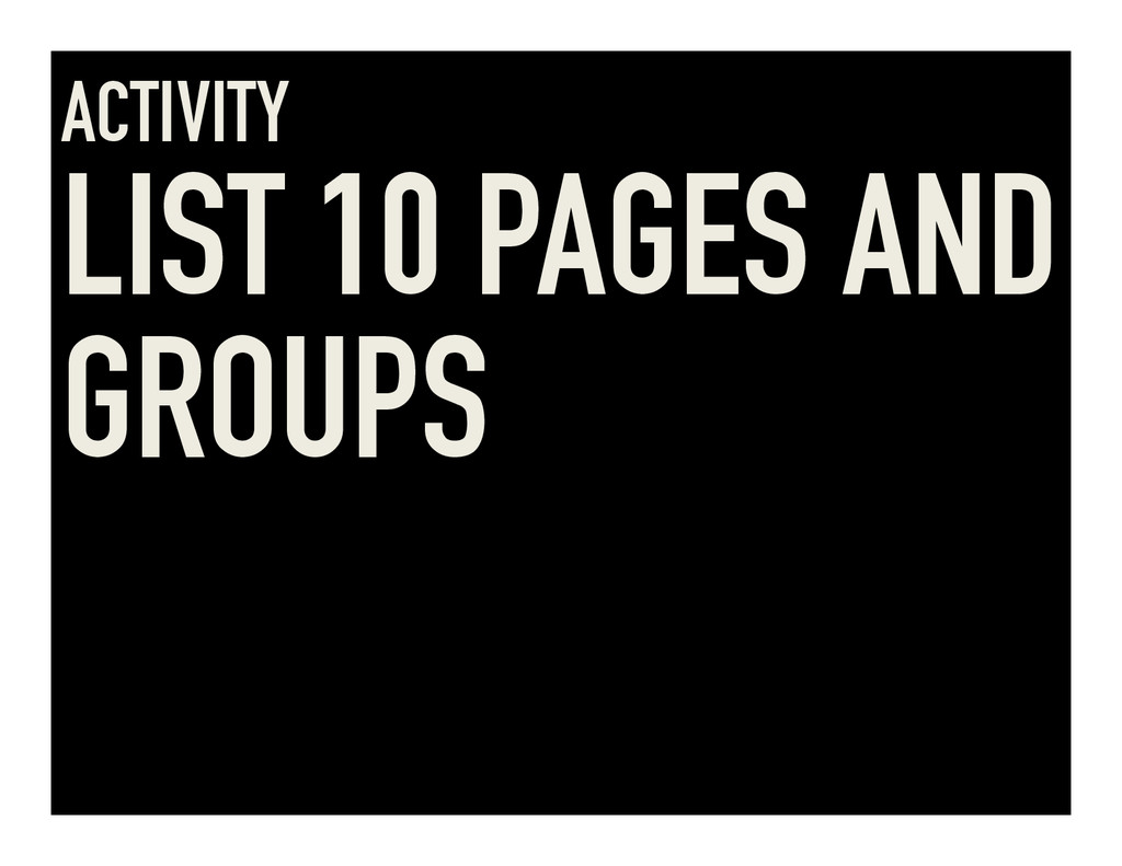 ACTIVITY LIST 10 PAGES AND GROUPS
