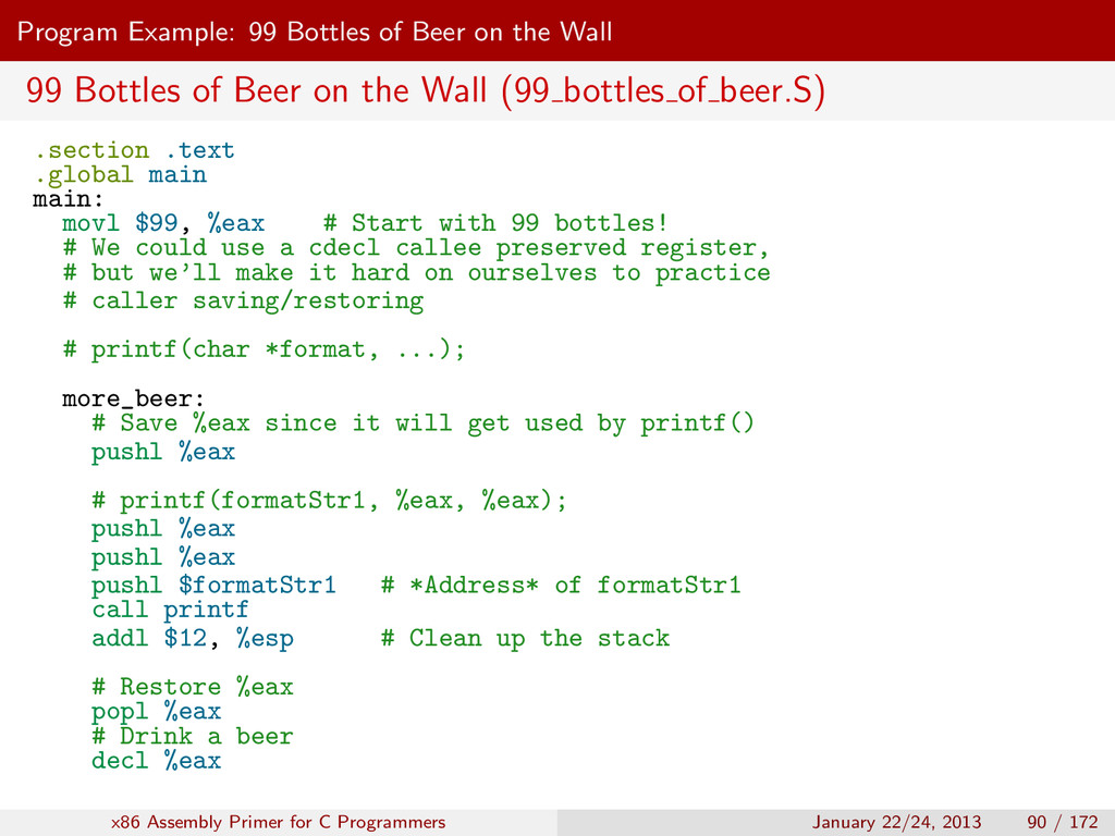 Program Example: 99 Bottles of Beer on the Wall...
