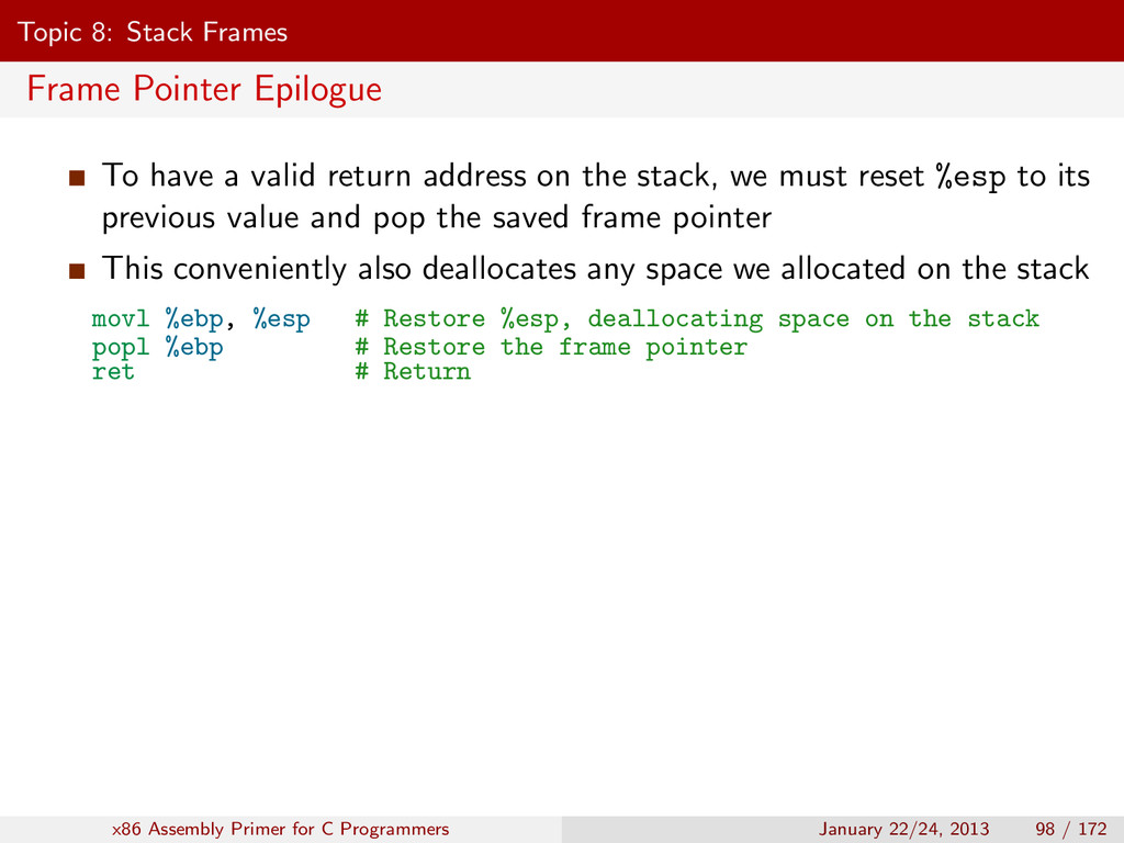 Topic 8: Stack Frames Frame Pointer Epilogue To...