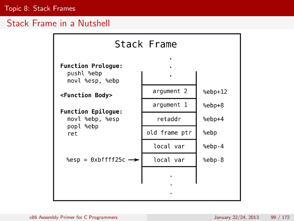 Topic 8: Stack Frames Stack Frame in a Nutshell...