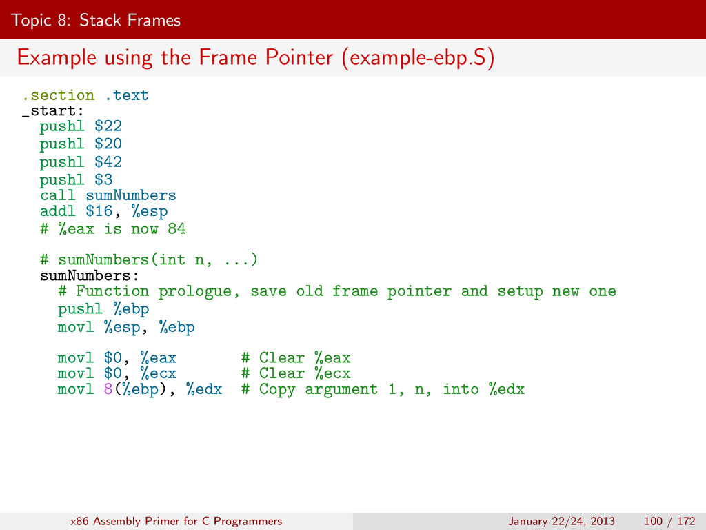 Topic 8: Stack Frames Example using the Frame P...