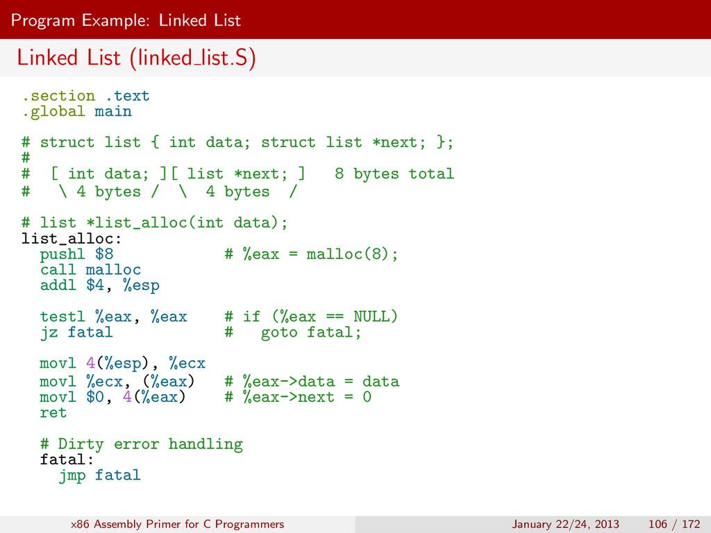 Program Example: Linked List Linked List (linke...