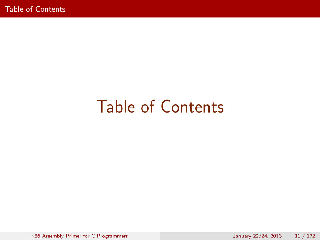 Table of Contents Table of Contents x86 Assembl...