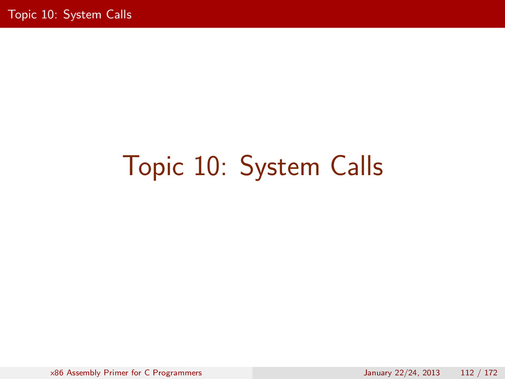Topic 10: System Calls Topic 10: System Calls x...