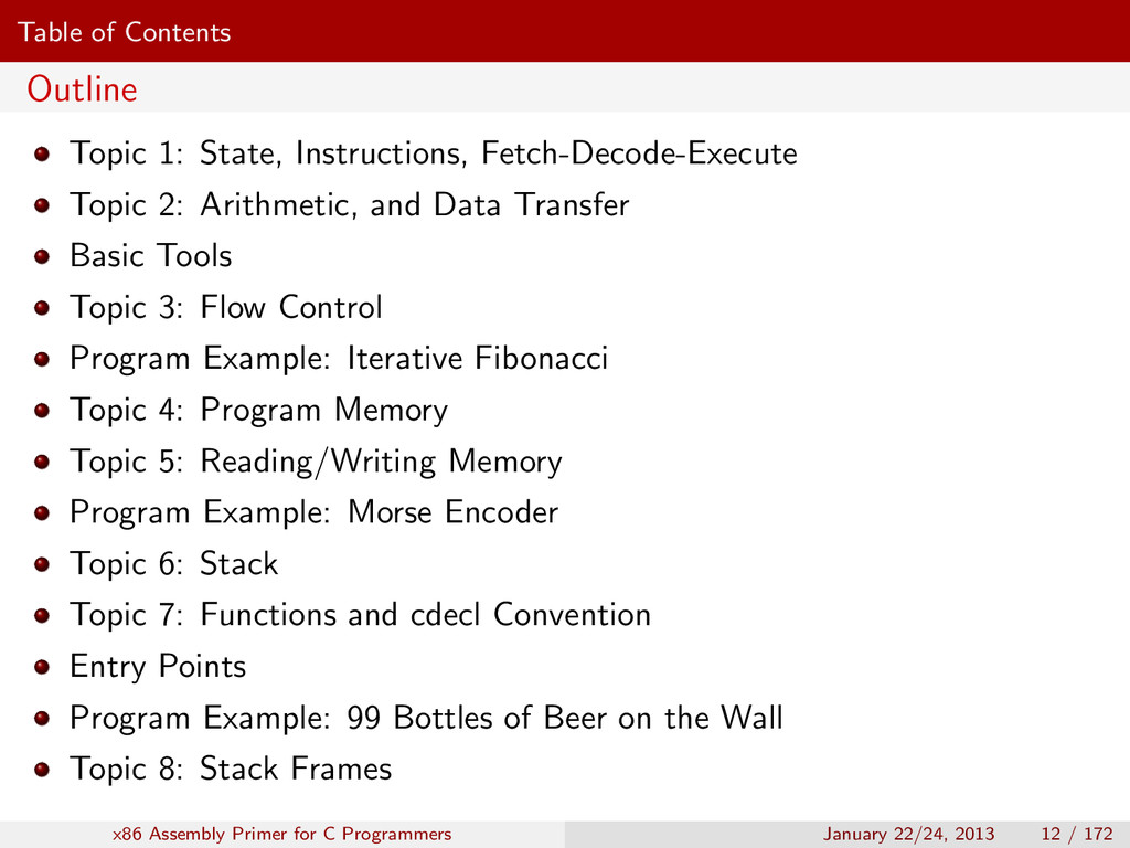 Table of Contents Outline Topic 1: State, Instr...