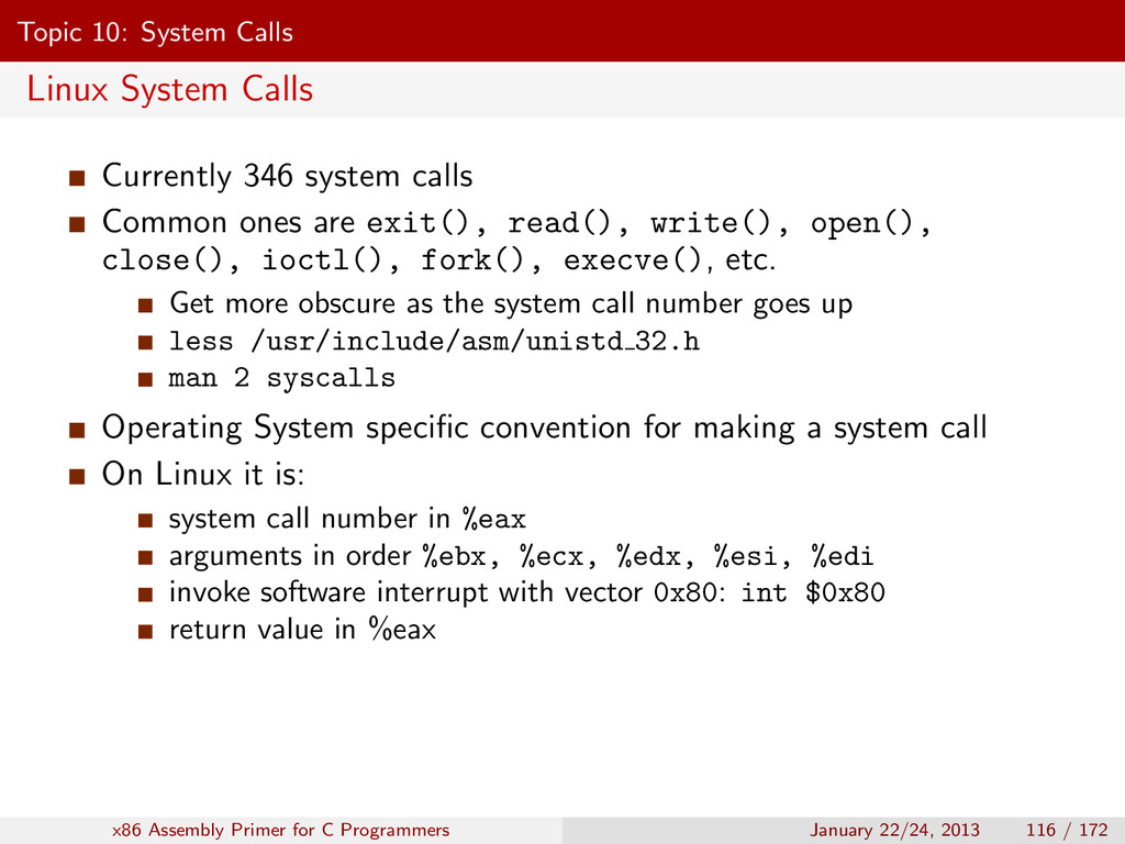 Topic 10: System Calls Linux System Calls Curre...