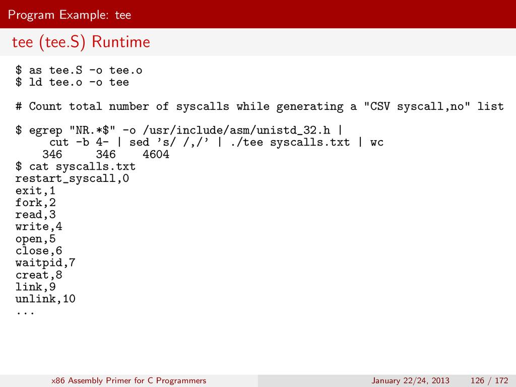 Program Example: tee tee (tee.S) Runtime $ as t...