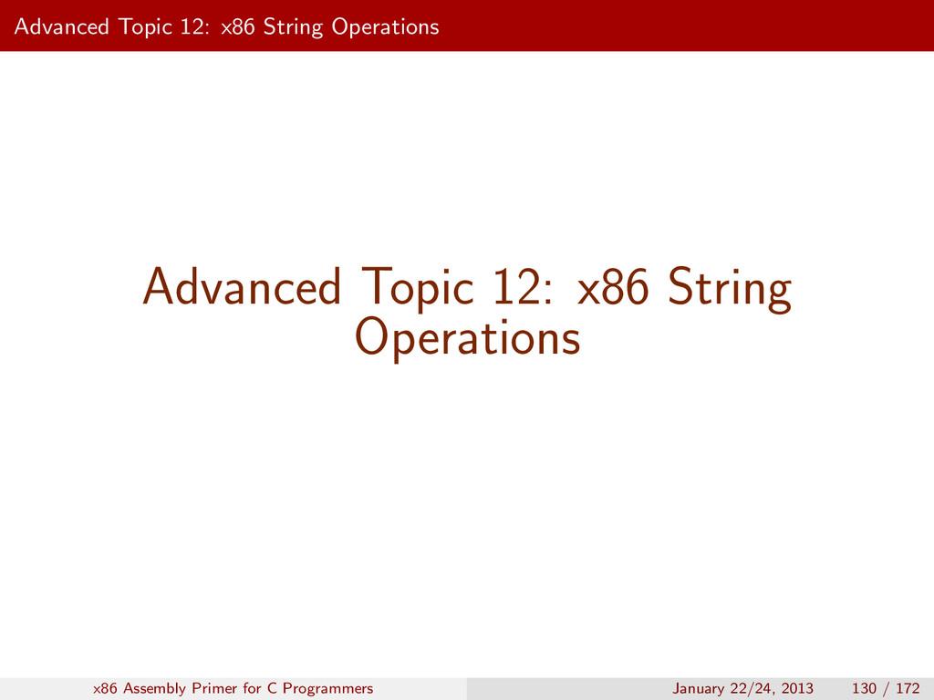 Advanced Topic 12: x86 String Operations Advanc...