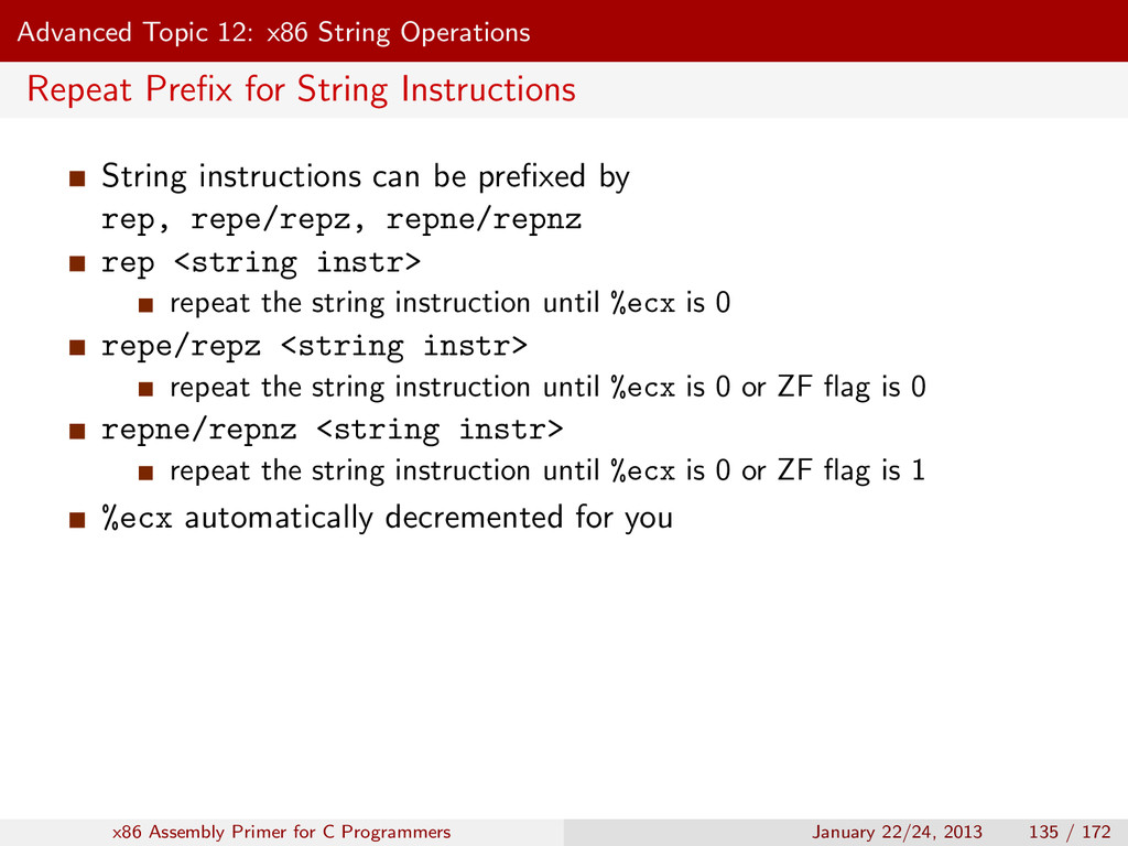 Advanced Topic 12: x86 String Operations Repeat...