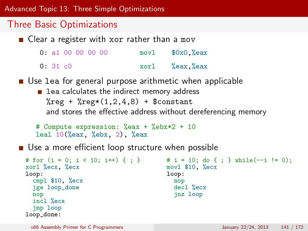 Advanced Topic 13: Three Simple Optimizations T...