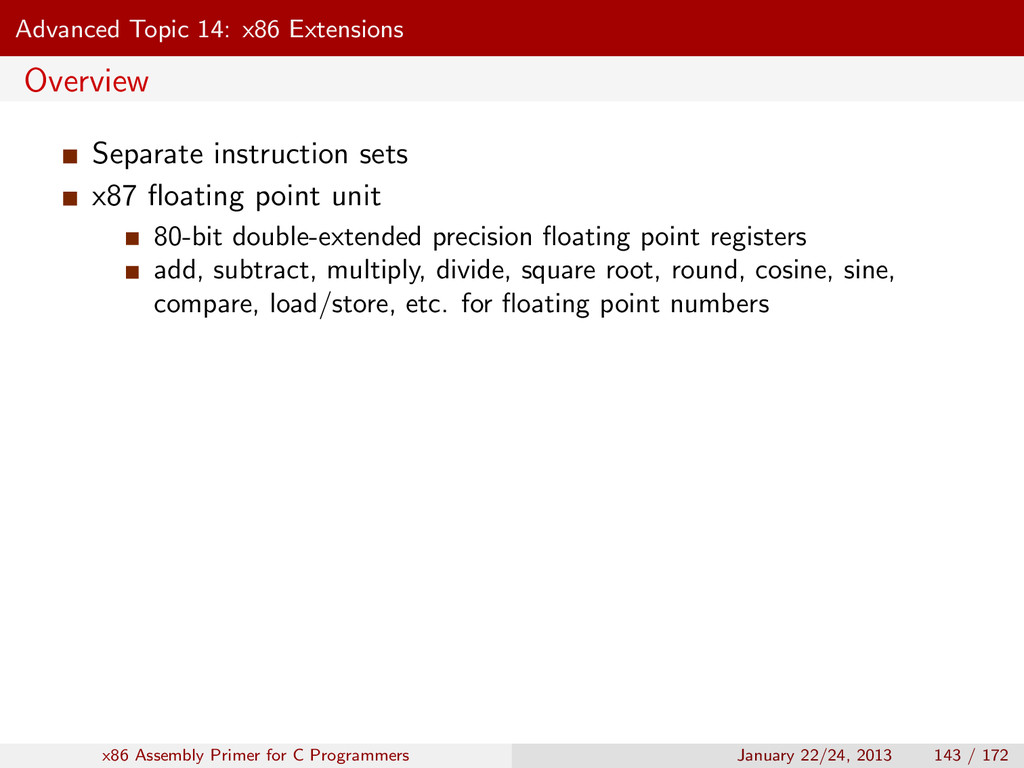 Advanced Topic 14: x86 Extensions Overview Sepa...