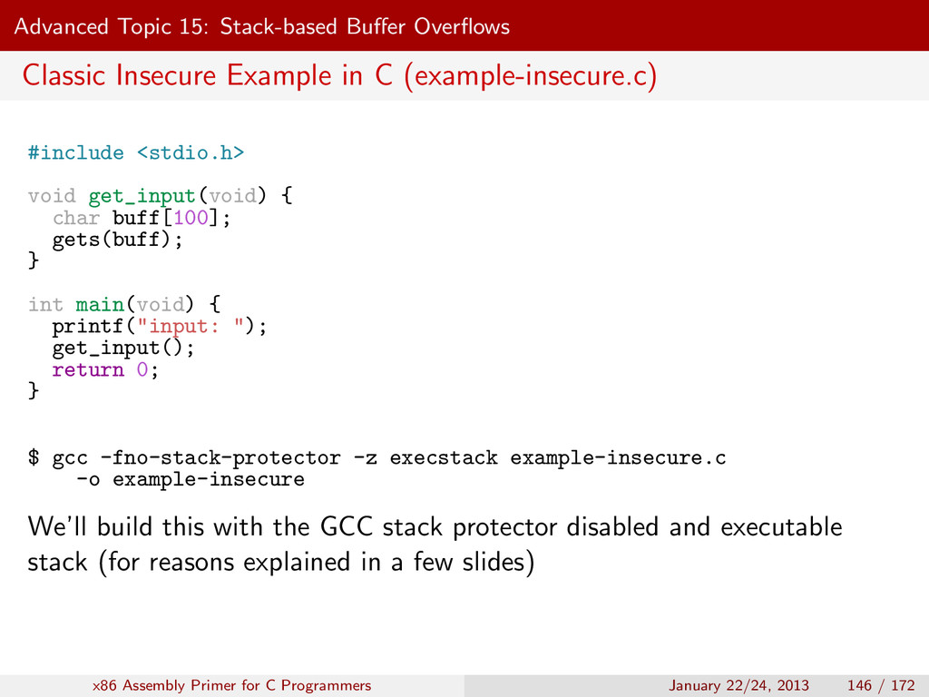 Advanced Topic 15: Stack-based Buffer Overflows C...