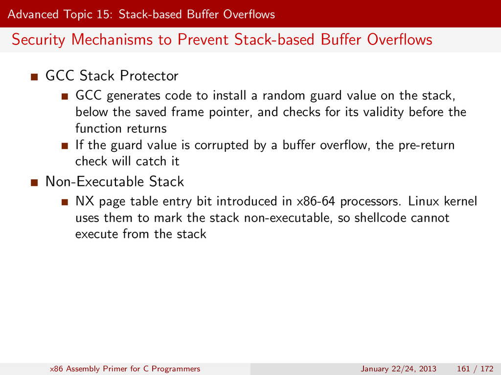 Advanced Topic 15: Stack-based Buffer Overflows S...