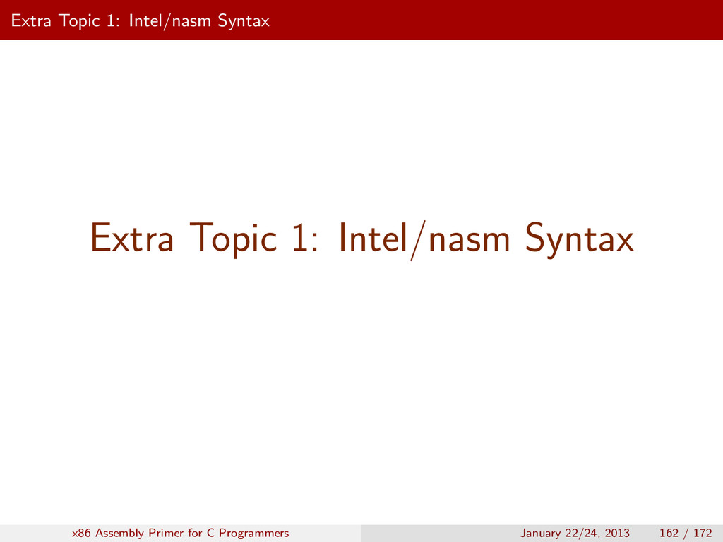 Extra Topic 1: Intel/nasm Syntax Extra Topic 1:...