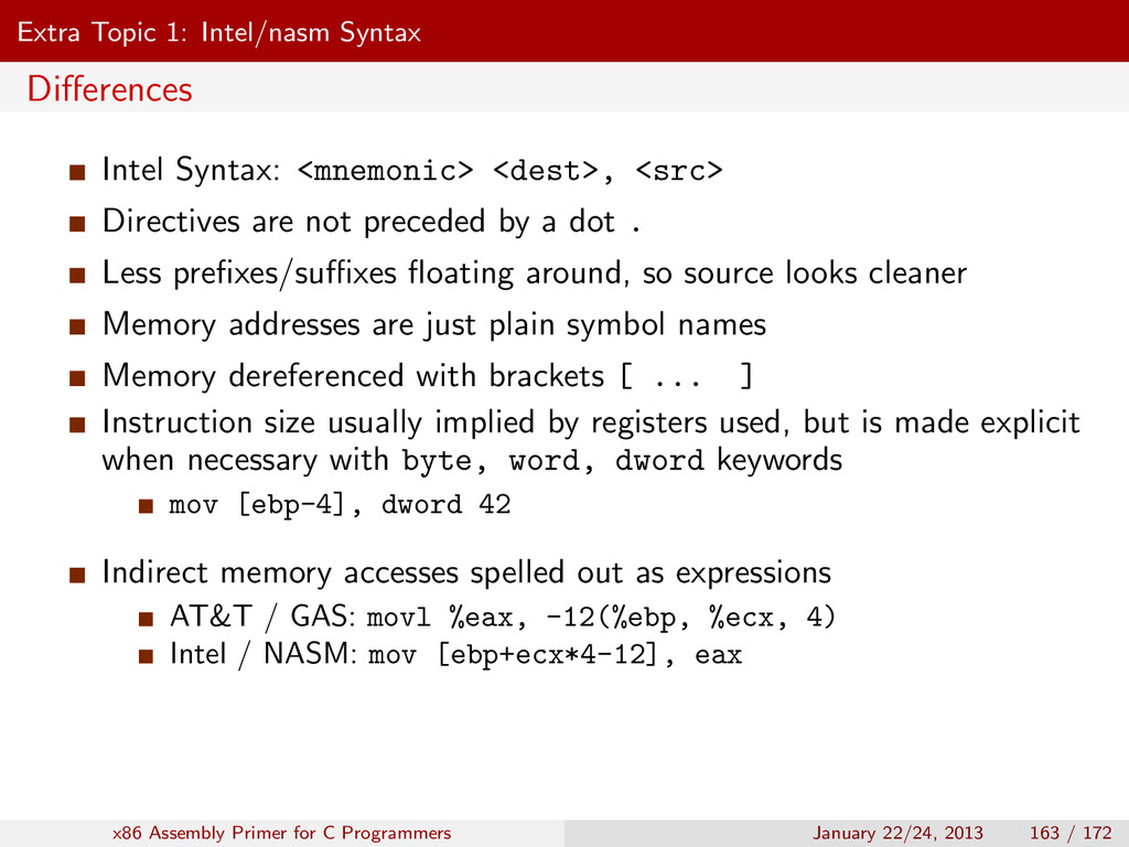 Extra Topic 1: Intel/nasm Syntax Differences Int...