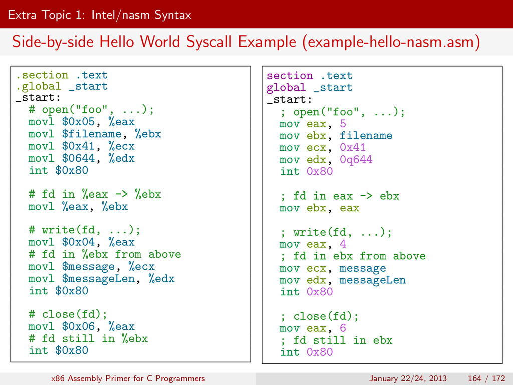 Extra Topic 1: Intel/nasm Syntax Side-by-side H...