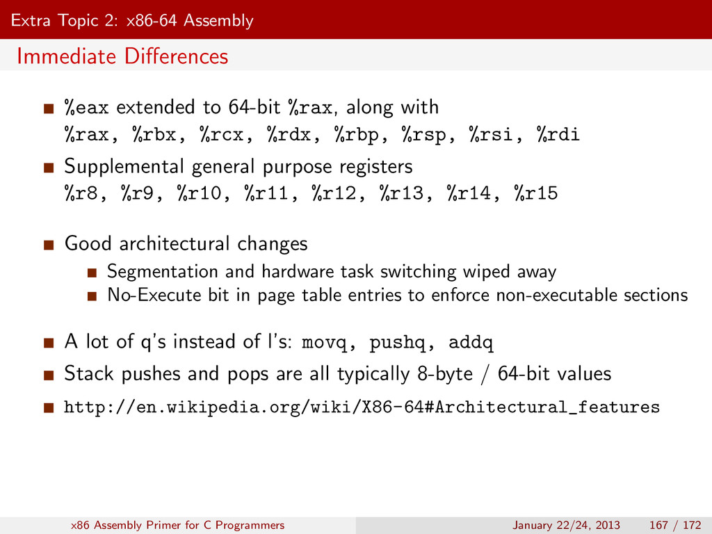 Extra Topic 2: x86-64 Assembly Immediate Differe...
