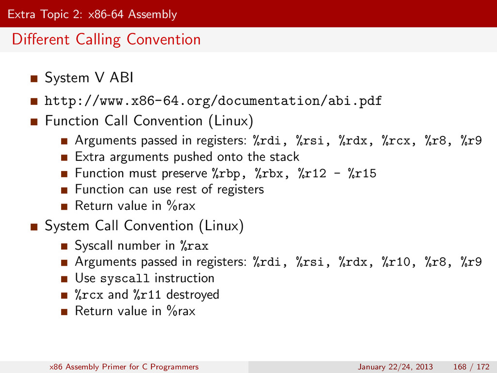 Extra Topic 2: x86-64 Assembly Different Calling...