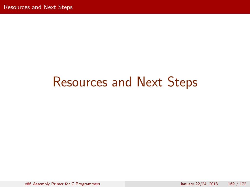 Resources and Next Steps Resources and Next Ste...
