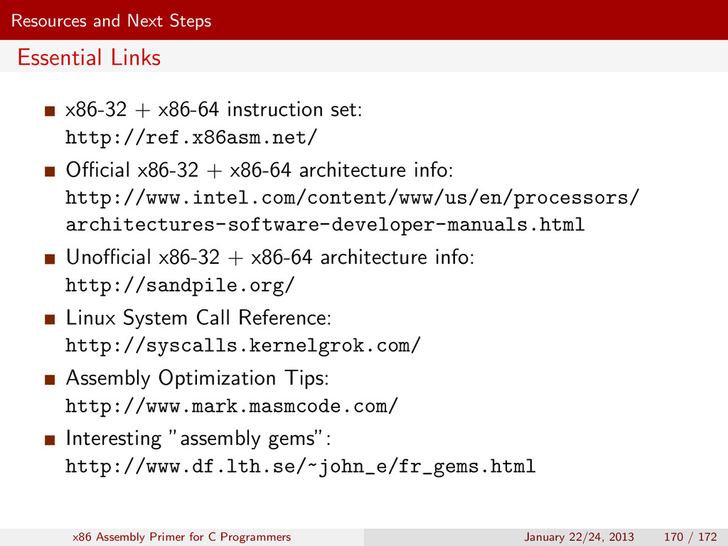 Resources and Next Steps Essential Links x86-32...