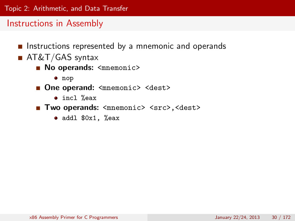 Topic 2: Arithmetic, and Data Transfer Instruct...
