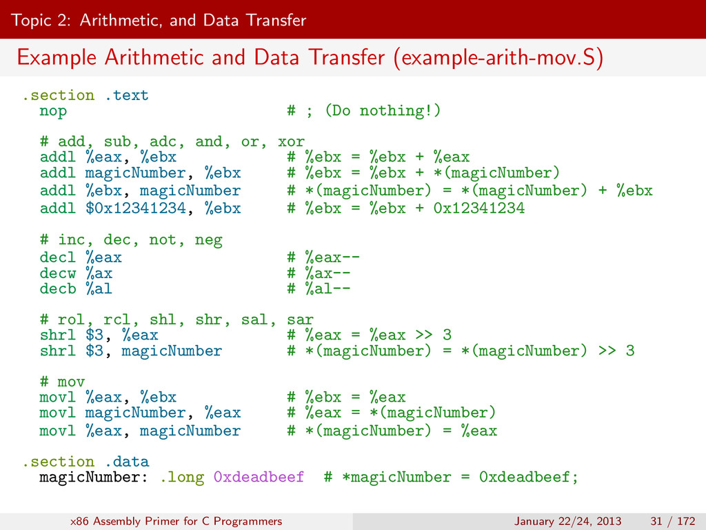 Topic 2: Arithmetic, and Data Transfer Example ...
