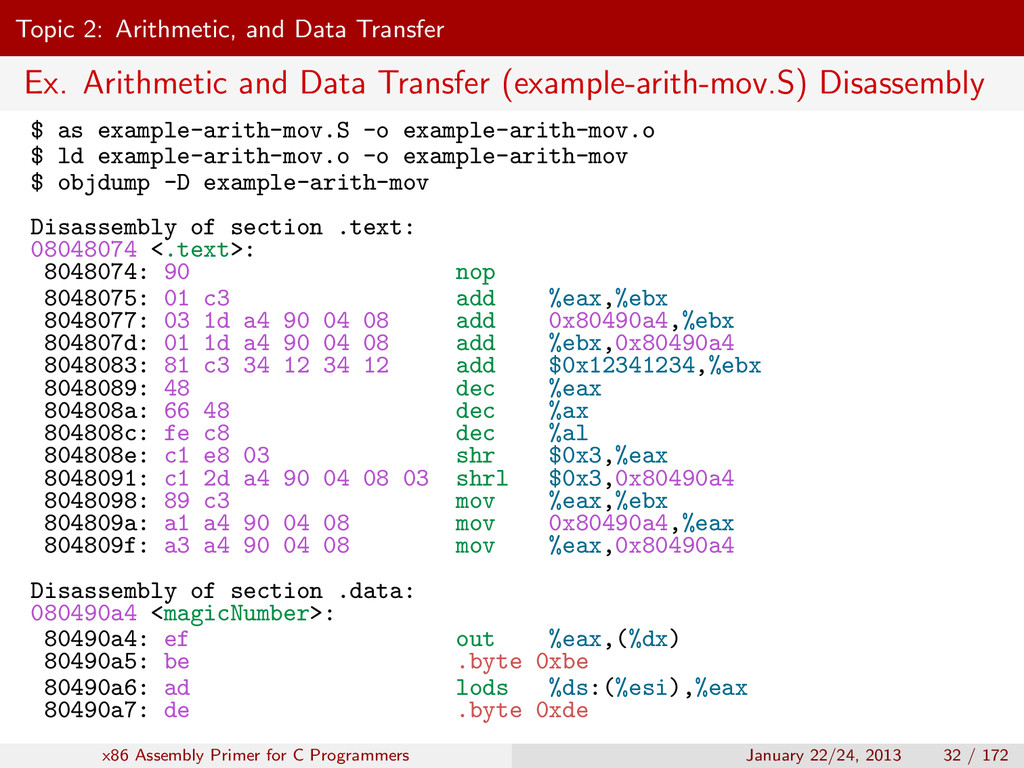 Topic 2: Arithmetic, and Data Transfer Ex. Arit...