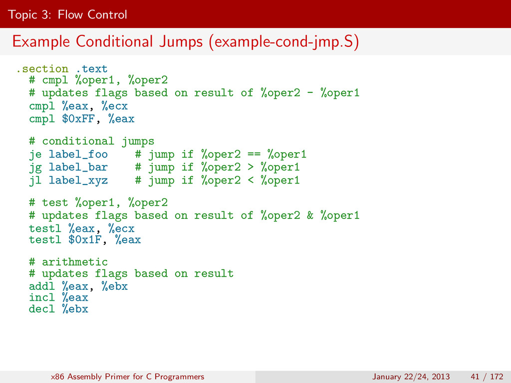 Topic 3: Flow Control Example Conditional Jumps...