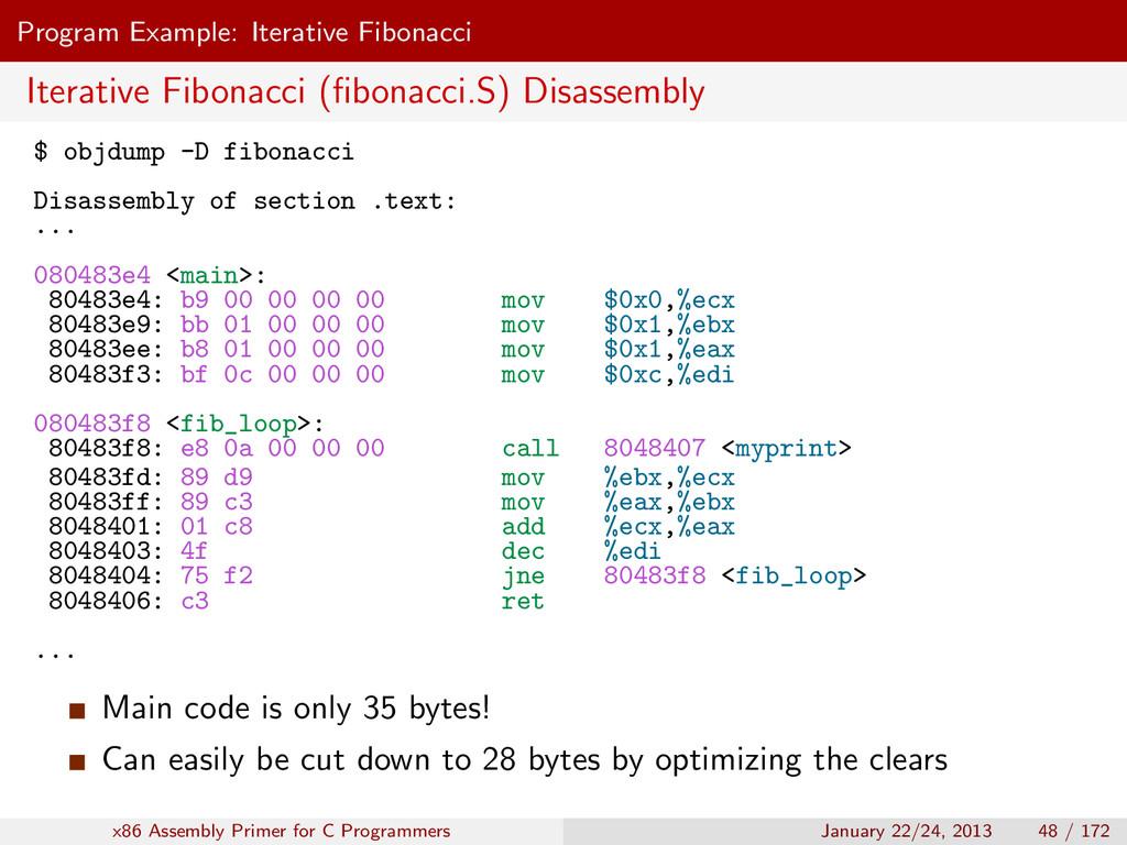 Program Example: Iterative Fibonacci Iterative ...