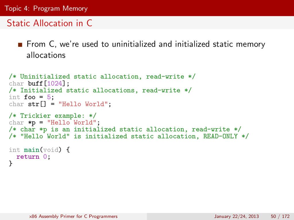 Topic 4: Program Memory Static Allocation in C ...