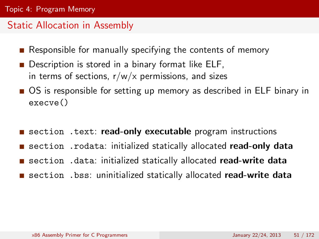Topic 4: Program Memory Static Allocation in As...
